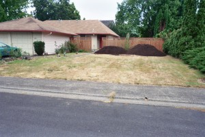 Too much lawn!  12 cu. yards of Ferti-Loam delivered for rototilling once the fence is moved forward.